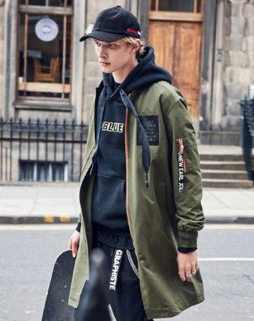 Green Stand Collar Long Sleeve Standard Men's Jacket