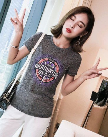 Gray Print Round Neck Short Sleeve Fitted Women's T-Shirt