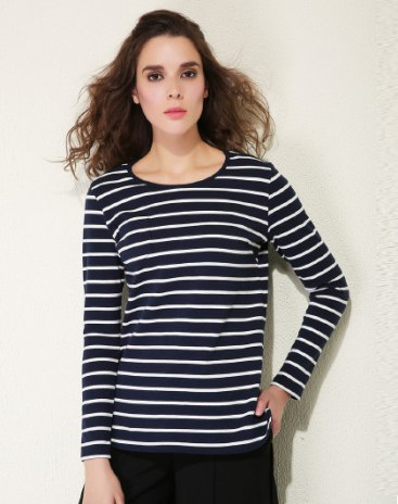 Stripes Round Neck Long Sleeve Loose Women's T-Shirt