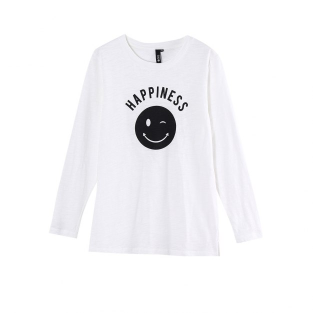 White Round Neck Long Sleeve Women's T-Shirt