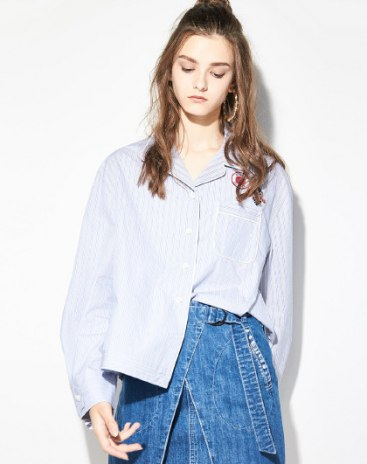 Blue Lapel Single Breasted Long Sleeve Loose Women's Shirt