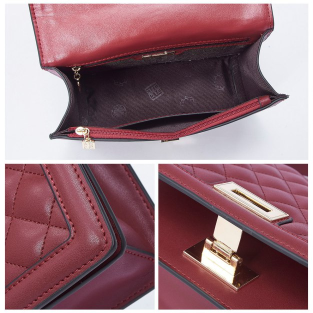 Red Cowhide Leather Purse Small Women's Tote
