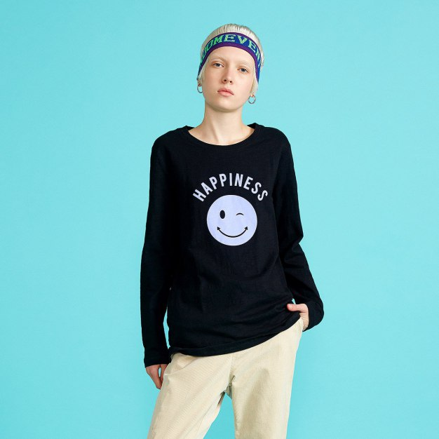 Black Round Neck Long Sleeve Women's T-Shirt