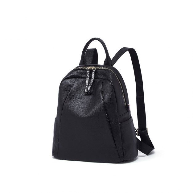 Black Cowhide Leather Big Plain Women's Backpack