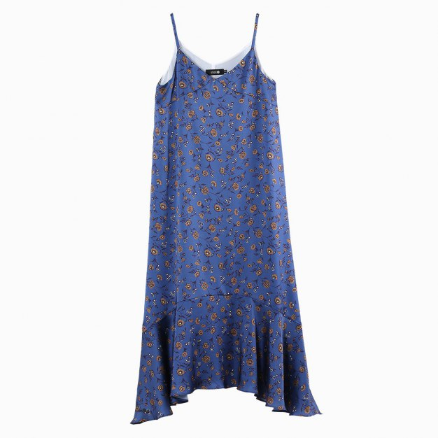 V Neck Sleeveless 3/4 Length Pleated Women's Dress