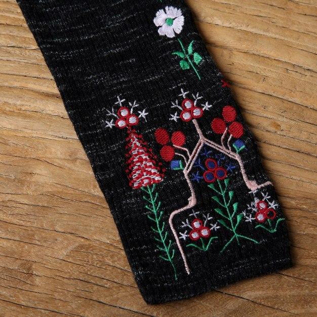 Black Embroidery High Neck Elastic 3/4 Sleeve Women's Knitwear
