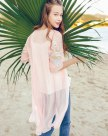 Pink Round Neck Elastic 3/4 Sleeve Loose Women's Outerwear