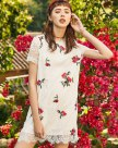 White Round Neck Sleeve Standard Women's Dress