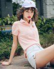 Pink Plain Lapel Short Sleeve Standard Women's T-Shirt