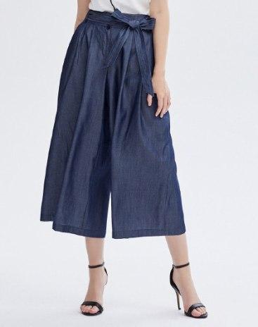 Blue High Waist Pockets Cropped Women's Pants