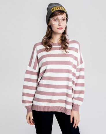 Pink Round Neck Elastic Long Sleeve Loose Women's Sweater