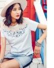 Blue Embroidery Round Neck Short Sleeve Standard Women's T-Shirt