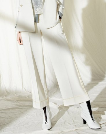 White High Waist Paneled Cropped Women's Pants