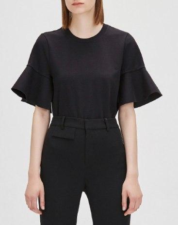 Black Plain Round Neck Short Sleeve Women's T-Shirt