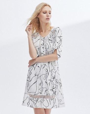 Black Round Neck Half Sleeve 3/4 Length A Line Women's Dress