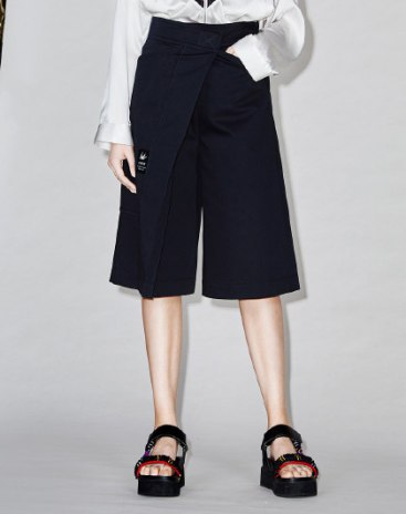 Blue High Waist Asymmetric Cropped Pants Women's Pants