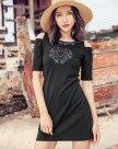 Black Round Neck Sleeve A Line Standard Women's Dress
