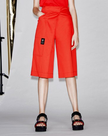 Red High Waist Asymmetric Cropped Pants Women's Pants