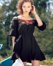 Black Off Neckline Half Sleeve 3/4 Length Women's Dress
