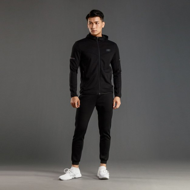 Black Stand Collar Long Sleeve Fitted Men's Outerwear