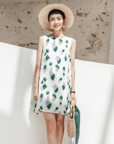 Green Round Neck Sleeveless Basic Short Dress A Line Standard Women's Dress