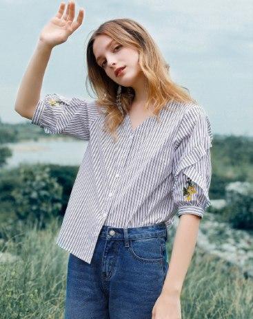 Stripes V Neck Single Breasted Half Sleeve Loose Women's Shirt