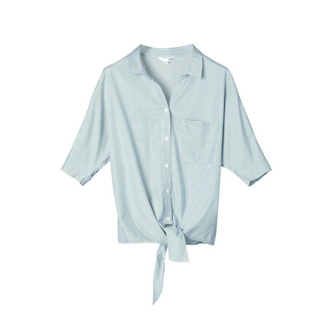 Stripes Shirt Collar Drawstring Type Half Sleeve Women's Shirt