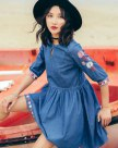 Blue Round Neck Half Sleeve Standard Women's Dress