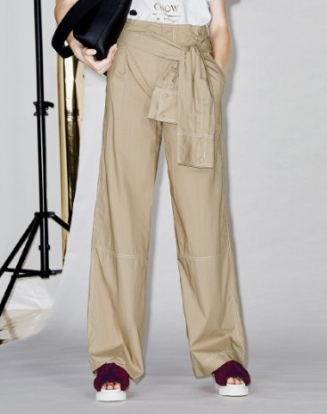 High Waist Open Line Long Women's Pants