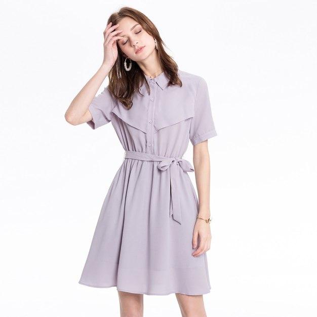 Gray Shirt Collar 3/4 Length Shaped Women's Dress