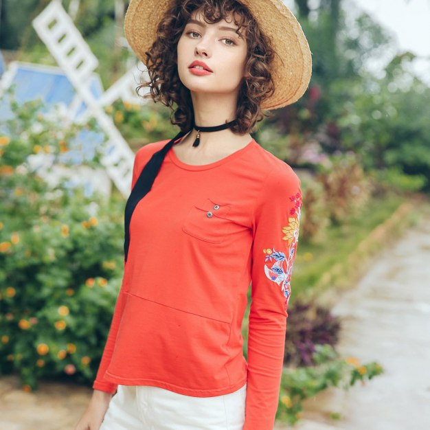 Orange Embroidery Round Neck Long Sleeve Fitted Women's T-Shirt