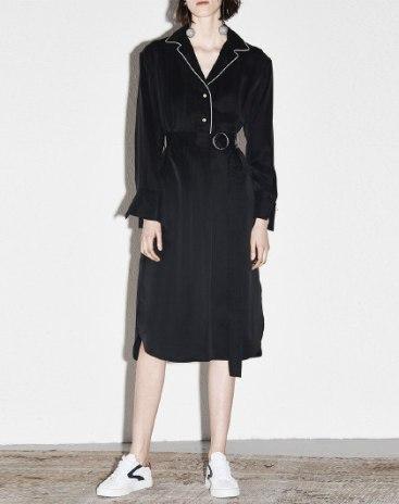 Black Lapel Long Sleeve 3/4 Length Women's Dress