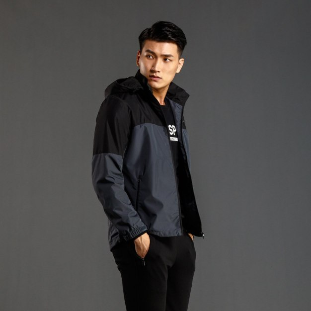 Stand Collar Long Sleeve Standard Windbreak Men's Outerwear