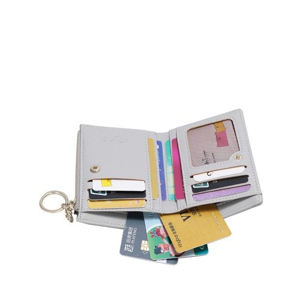 Gray PU Purse(Short) Small Women's Wallet