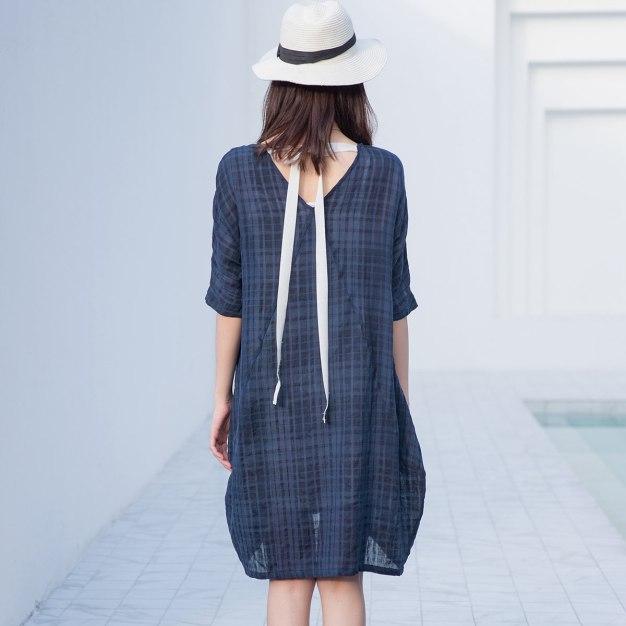 Indigo Round Neck Half Sleeve 3/4 Length Women's Dress