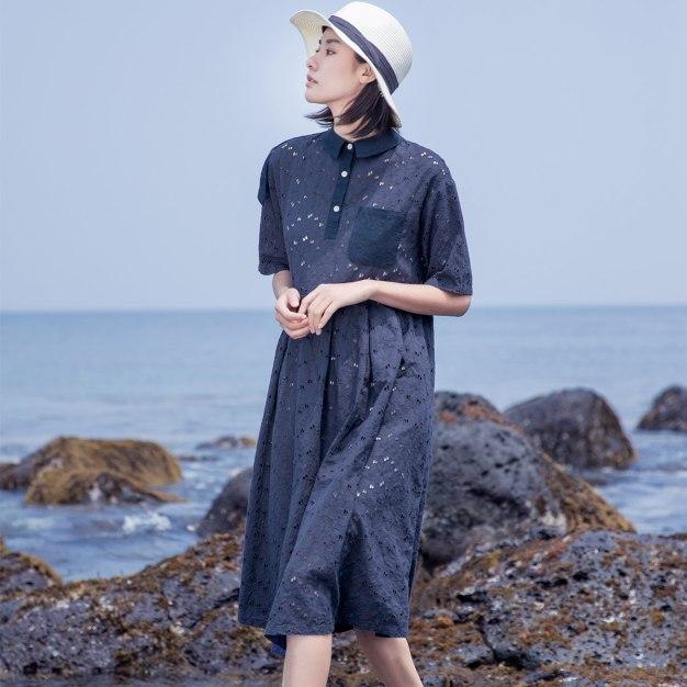 Indigo Shirt Collar Half Sleeve Long Fitted Women's Dress