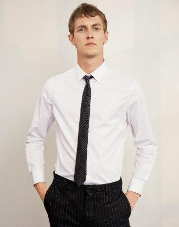 White Plain Lapel Long Sleeve Fitted Men's Shirt