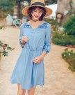 Blue V Neck Half Sleeve Standard Women's Dress