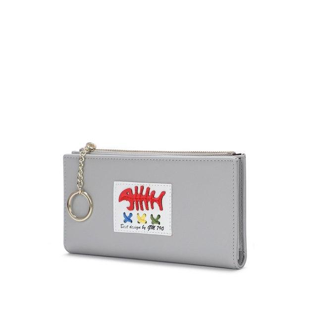 Gray PU Purse(Long) Big Women's Wallet