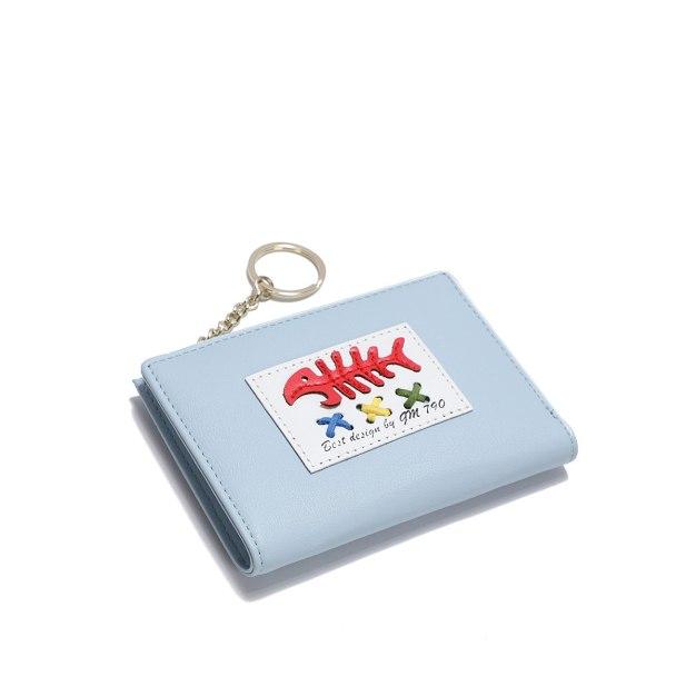 Blue PU Purse(Short) Small Women's Wallet