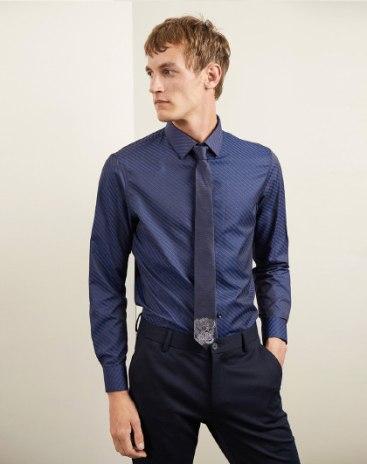 Blue Plain Lapel Long Sleeve Fitted Men's Shirt