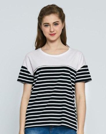 Black Stripes Round Neck Short Sleeve Loose Women's T-Shirt
