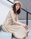 White Round Neck Sleeveless 3/4 Length Fitted Women's Dress