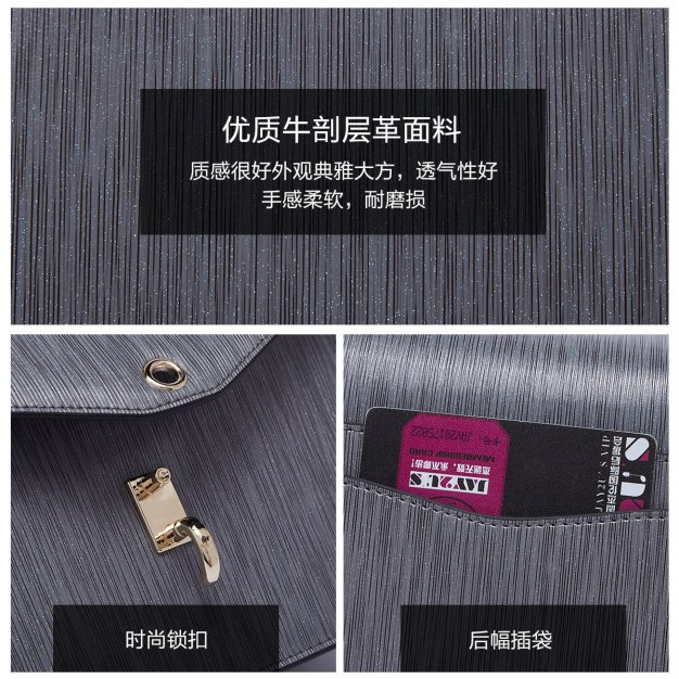 Gray Plain Cowhide Leather Small Women's Crossbody Bag
