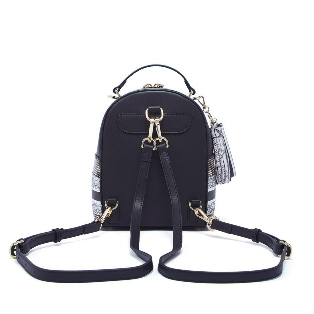 Black Cowhide Leather Medium Houndstooth Women's Backpack
