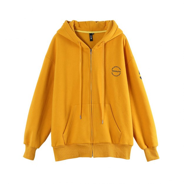 Yellow Long Sleeve Loose Women's Outerwear