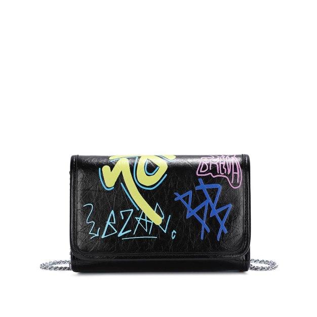 Black Doodle PU Envelope Bag Small Women's Crossbody Bag