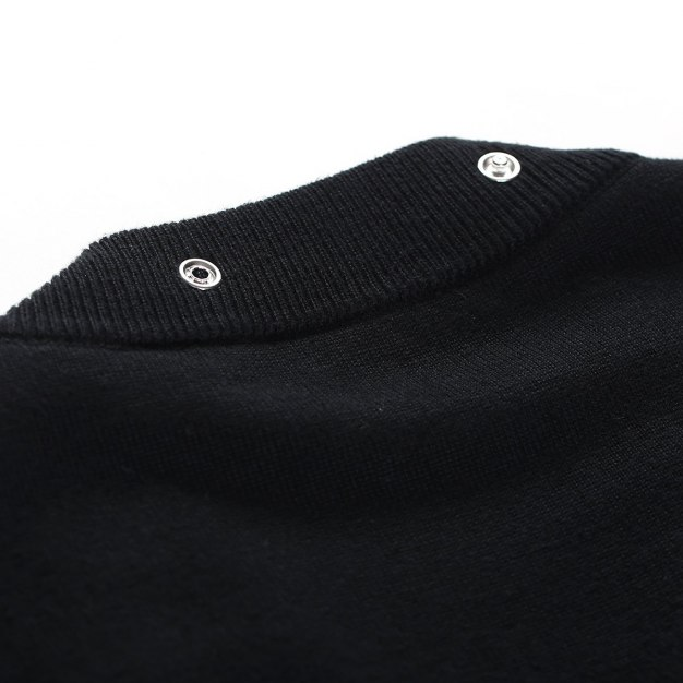 Black V Neck Single Breasted Long Sleeve Loose Women's Sweater