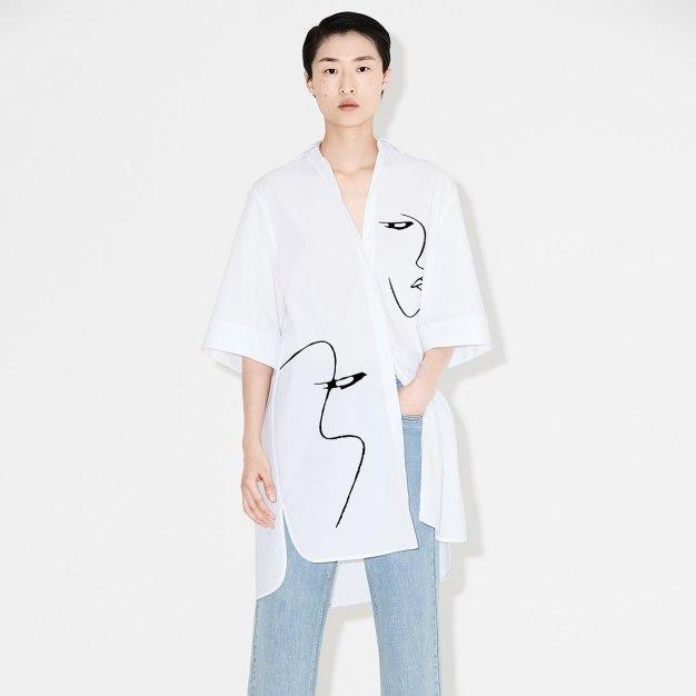 화이트 반소매 A라인 여성 드레스