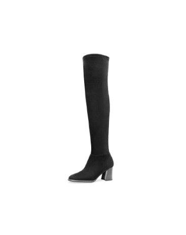 Top Round Head Heel High Knee Boot Anti Skidding Women's Boots